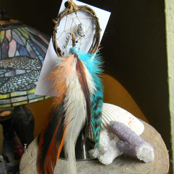 "Dream Catcher Ornament 2"" Snowy Owl in The Native Inspired Tribal Rustic Style"