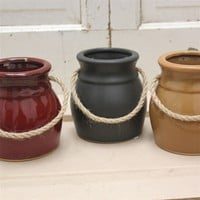 Primitive Stoneware Pot for country farmhouse kitchen