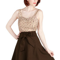 ModCloth 50s Mid-length A-line Musee Matisse Skirt in Cocoa