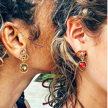 GUCCI Fashion Red&Amber Letter Earrings Agate Diamond crystal Earring