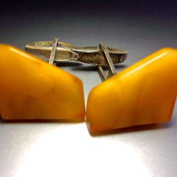 Egg Yolk Baltic Amber Cuff Links, 80% Silver, Poland, Vintage