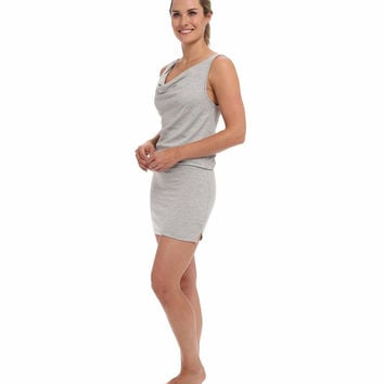 Beyond Yoga Womens Gray Mini Drape Neck French Terry Drop Waist Tank Dress Size L