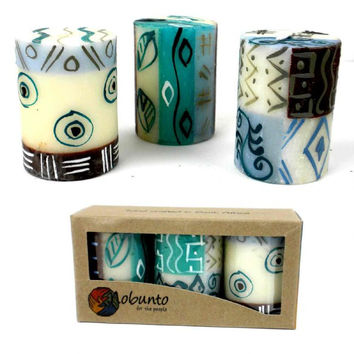 Hand Painted Candles - Three in Box - Maji Design