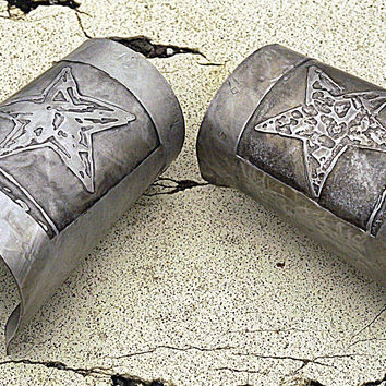 Silver Wrist Cuff Bracers, 5 Pointed Star, Galaxy Bracers, Silver Wrist Cuffs, Fantasy Jewelry