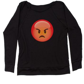 Color Emoticon - Red Angry Face Smiley Slouchy Off Shoulder Oversized Sweatshirt