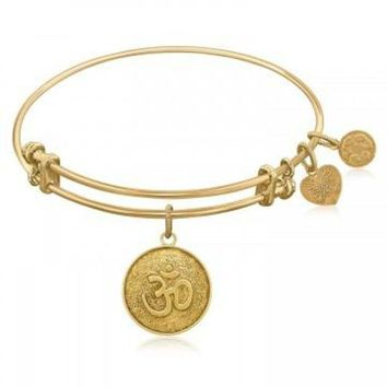ac NOVQ2A Expandable Bangle in Yellow Tone Brass with Om Calmness Symbol