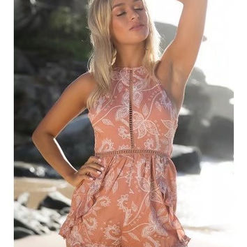 Fashion Backless Hollow Halter Sleeveless Print Romper Jumpsuit Shorts