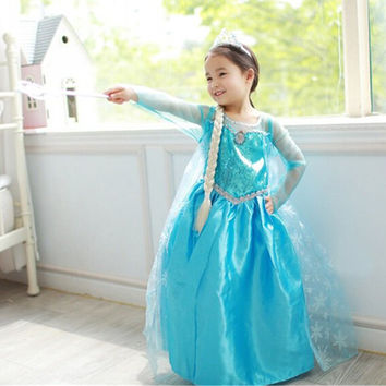 Winter Baby Girls Carnival Christmas Party Lace Sleeve Tutu Dress Elsa Anna Princess Snow Queen Clothes For Kids Girls Costume