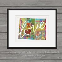 Wyoming - WY Canvas Paper Print:  A Modern and Colorful Abstract Watercolor Style Original Art Piece / Home State Love Map
