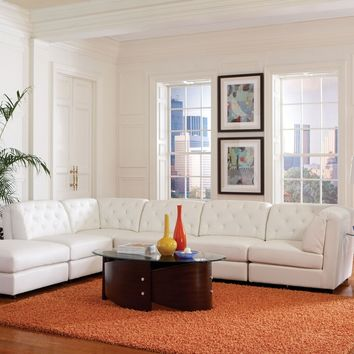 Coaster 551021-22-23 6 pc quinn collection white bonded leather upholstered modular sectional sofa set with tufted backs