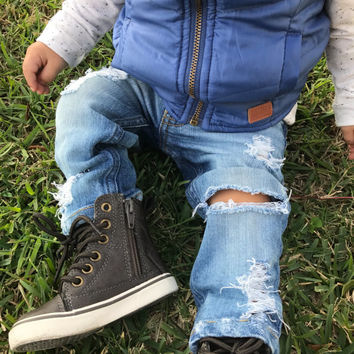 All torn up Unisex jeans - distressed jeans with rips and holes in light or dark wash for boys or girls