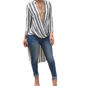 2016 Fall New Grey Striped Print Maxi Tshirt Dress For Women Casual Asymmetrical Dress Loose African Dashiki Wrap Robe Femme