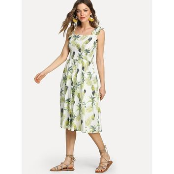 Pineapple Print Frill Trim Shirred Dress