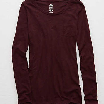 Aerie Real Soft® Long Sleeve Tee, Deep Plum