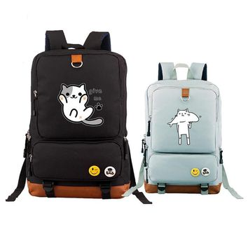 2017 New High Quality Neko Atsume Kawaii Cat Emoji Canvas Printing Backpack Mochila Feminina Fashion School Bags