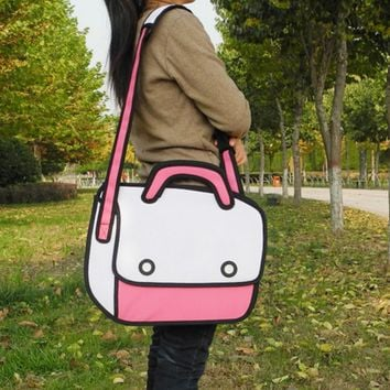 Canvas Shoulder bag 3D package The second element Cartoon laptop bag