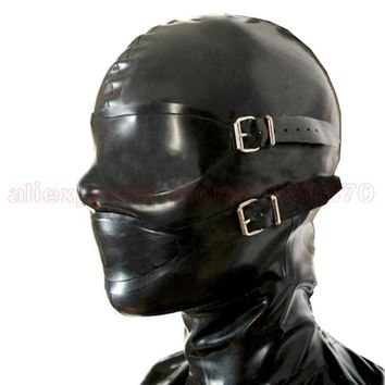 Sexy Latex Hoods Wemen Costumes Zentai Natural Rubber Mask  with Eyepatch and Mouth Piece S-LM158