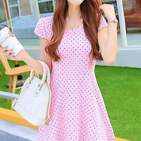 Sweet Dotted A-line Dress