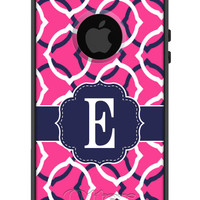 Custom OTTERBOX Commuter iPhone 5 5S 5C 4/4S Samsung Galaxy S3 S4 S5 Note 2 3 Case Dual Oval Magenta Navy Personalized Monogrammed Initial