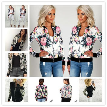 women basic coats bomber jacket jaqueta feminina chaquetas mujer abrigo Ethnic printing jacket women coat plus size 2XL