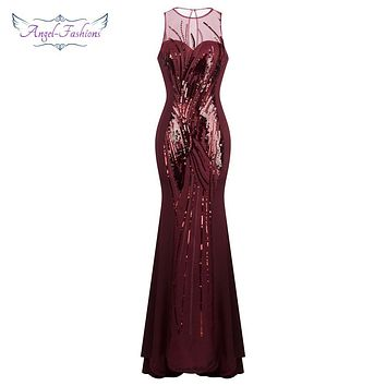 Angel-fashions Sheer Sequin Mermaid Long Prom Dress Party Gown Burgundy 352