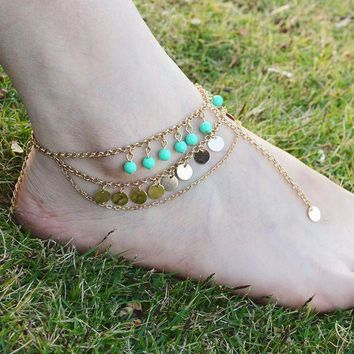 DCCKU1Q Full handmade multi-layer beads sequined tassel anklets