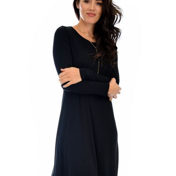 Lyss Loo Shift & Shout Long Sleeve Black Tunic Dress