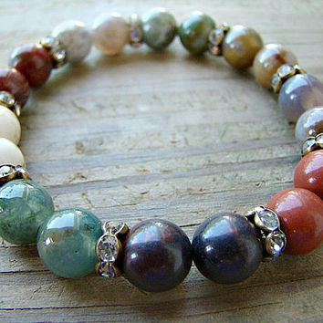 Beaded Bracelet, Gemstone Stretch Bracelet, Multi Gemstone and Clear Rhinestone Stacking Bracelet
