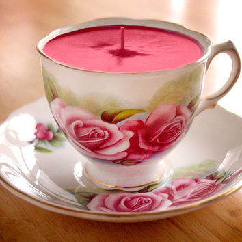 Teacup Candle - Vintage Colclough Dreamy Pink Rose Design Fine English Bone China Soy Wax Tea Cup Candle - your choice scent