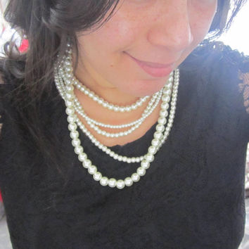 Multi Strand Pearl Necklace, Layered Pearl Necklace, Statement Necklace, Ivory Pearl Jewelry, Chunky Necklace, Bib Necklace