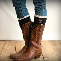 Lacey Fan TEXAS TECH Boot Socks cable knit boot sock with lace and school logo - collegiate boot socks (Item no.12-15)