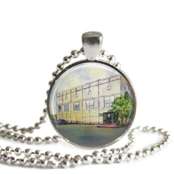 The Office Pam's Painting Dunder Mifflin 1 Inch Silver Plated Pendant Necklace Handmade