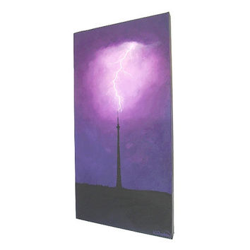 Lightning Strikes Emley Moor Tower original painting - acrylic art of a stormy purple sky with a lightning fork hitting Emley Moor Mast