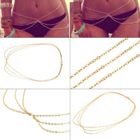 Chic Sexy Bikini Belly Waist Chain,Fine Sexy Three Chains,Gold Body Chain Jewelry For nice gift