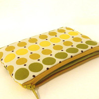 Small Pouch Small Wallet Small Coin Purse Polka Dots in Gold, Olive and Yellow