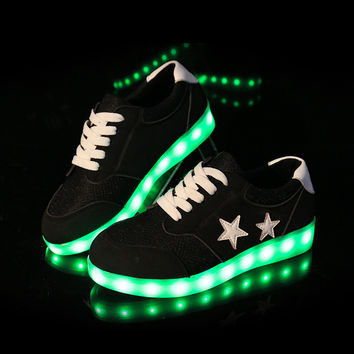 Hot Sale Professional Comfort Hot Deal On Sale Lightning Shoes Outdoors Travel Noctilucent LED Lights Jogging Shoes [4964953412]