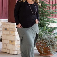 Simply Sophisticated Maxi Skirt With Fold Over Detail ~ Sage ~ Sizes 12-18