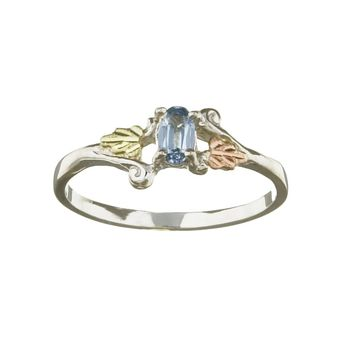 Black Hills Gold and Silver March Birthstone Ring | Overstock.com Shopping - The Best Deals on Gemstone Rings