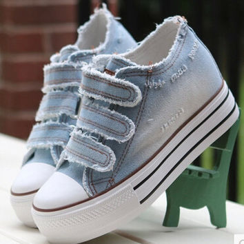 Women Shoes lace up casual canvas shoes women platform spring summer women denim shoes p6c169