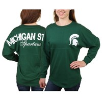 Michigan State Spartans Women's Hunter Green Pom Pom Long Sleeve Jersey Top
