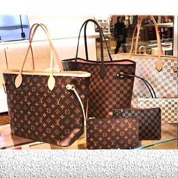 DCCKN7G LV Louis Vuitton Flor Women Girl Monogram Canvas Neverfull Two piece And Key pouch-Coin purse