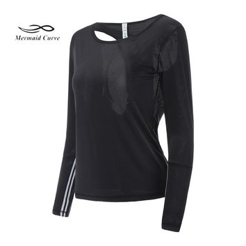Mermaid Curve Women Mesh Hollow Out Yoga Top Full Sleeve Shirts Striped Design Fitness Clothing Sports Gym Running T Shirt