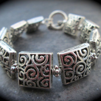 Brighton Style Silver Filigree Squares Bracelet with Toggle Clasp 7 1/2""