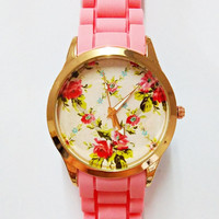 Prettier in Pink  Floral Watch, Women Watches, Fashion Watch, Boyfriend watch, Rose Gold . Limited
