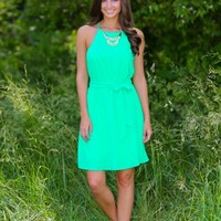 EVERLY:Here, There, And Every Flare Dress-Spring Green