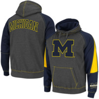 Michigan Wolverines Charcoal-Navy Blue Playmaker II Pullover Hoodie Sweatshirt
