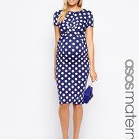 ASOS Maternity Exclusive Bodycon Dress In Spot Print With Cross Front at asos.com
