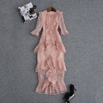 HIGH QUALITY New Fashion 2018 Runway Dress Women's 3/4 Sleeve Cascading Ruffle Lace Mermaid Dress