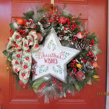 27x27-Rustic holiday Wreath-Large Christmas wreath for the front door-Christmas Star Wreath-Natural Christmas wreath-Christmas Wish Wreath
