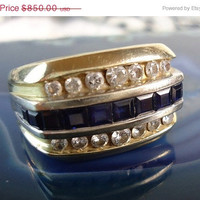 Vintage Men's Sapphire & Diamond Ring, Sale